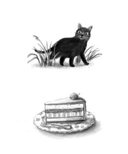 Schwarze Katze, Tortenstück auf Teller